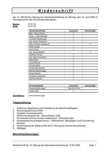 10. Niederschrift - 12 06 2006.pdf - Bezau