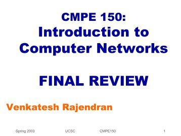 Introduction to Computer Networks FINAL REVIEW