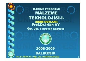 Prof. Dr. İRFAN AY / Öğr. Gör. FAHRETTİN KAPUSUZ