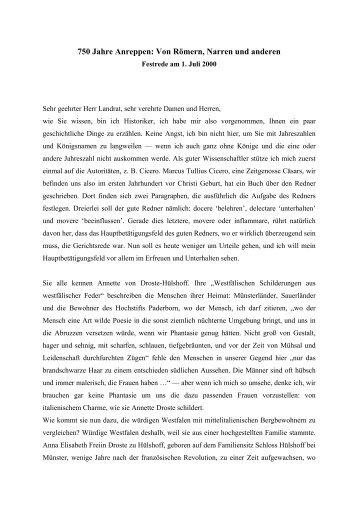 750 Jahre Anreppen: Von Römern, Narren und anderen