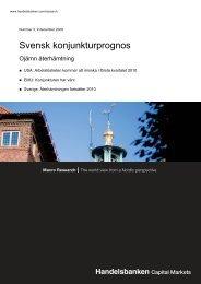 Svensk konjunkturprognos - Handelsbanken