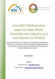 Joint AGE-ENAR position paper on older ethnic minorities ... - Horus