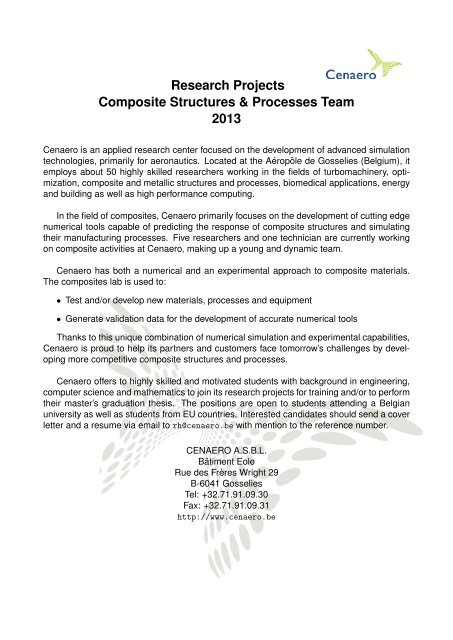 Research Projects Composite Structures & Processes Team     - Horus