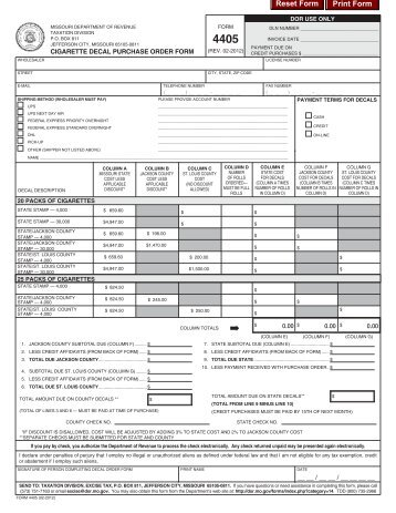 4405 Cigarette Decal Purchase Order Form - Missouri Department ...