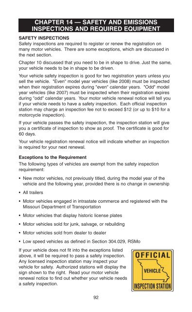 Missouri Safety Inspection >> Driverguide Chapter 14 Missouri Department Of Revenue