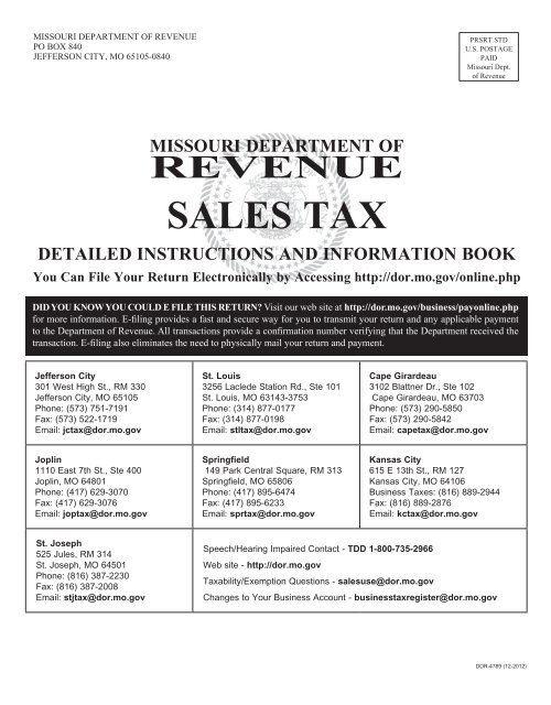 Sales Tax Detailed Instructions and Information - Missouri
