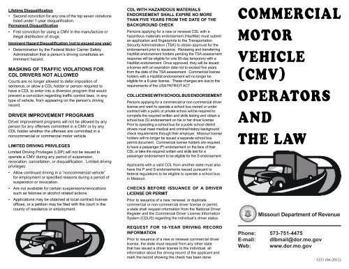 Missouri Driving Record >> Dor 5231 Cmv Operators And The Law Missouri Department Of