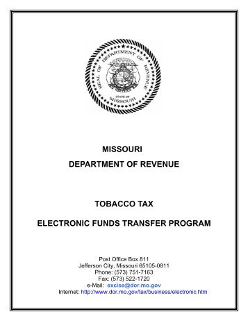 tobacco tax electronic funds - Missouri Department of Revenue