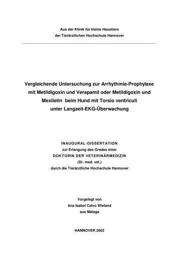 Vergleichende Untersuchung zur Arrhythmie-Prophylaxe mit ...