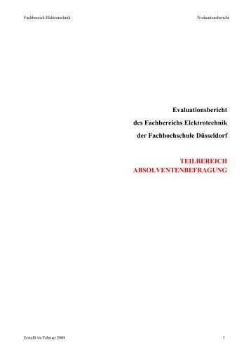 Absolventenbefragung 2008 - Fachbereich Elektrotechnik ...