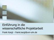 Einführung in die wissenschaftliche Projektarbeit
