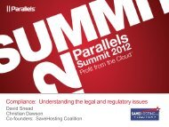 Compliance: Understanding the legal and regulatory issues - Parallels