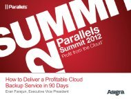 How to Deliver a Profitable Cloud Backup Service in 90 ... - Parallels