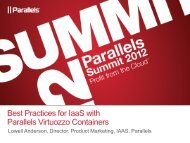 Best Practices for IaaS with Parallels Virtuozzo Containers