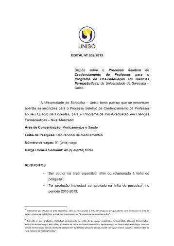 Edital de Processo Seletivo de Credenciamento de Professores