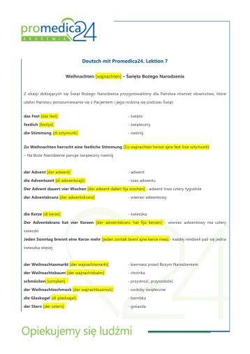 Deutsch mit Promedica24. Lektion 7