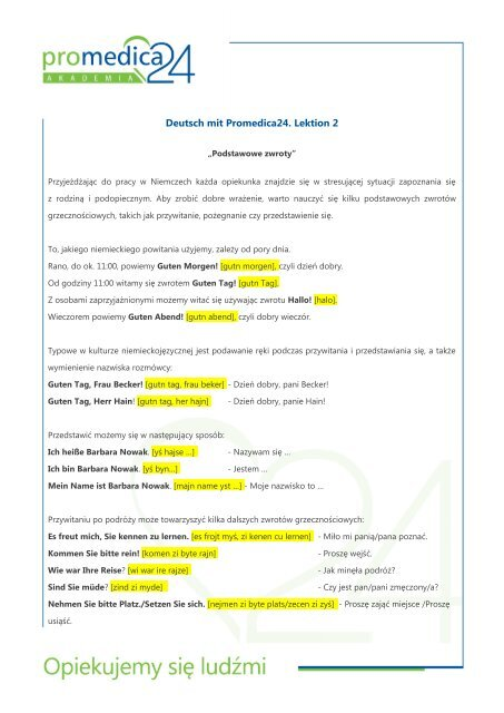 Deutsch Mit Promedica24 Lektion 2