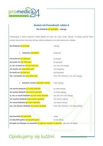 Deutsch mit Promedica24. Lektion 8