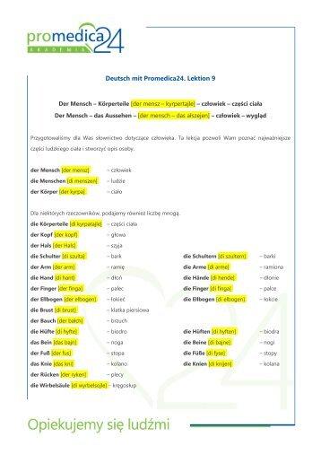 Deutsch mit Promedica24. Lektion 9