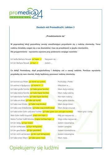 Deutsch mit Promedica24. Lektion 3