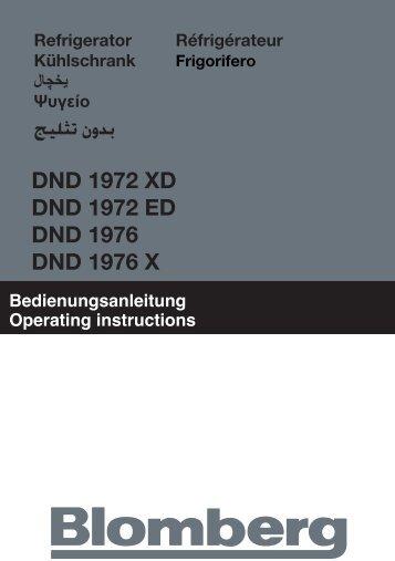 بدون تثليج DND 1972 XD DND 1972 ED DND 1976 ... - Blomberg