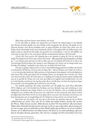 PDF: Prelatensbrev juli 2012 - Opus Dei