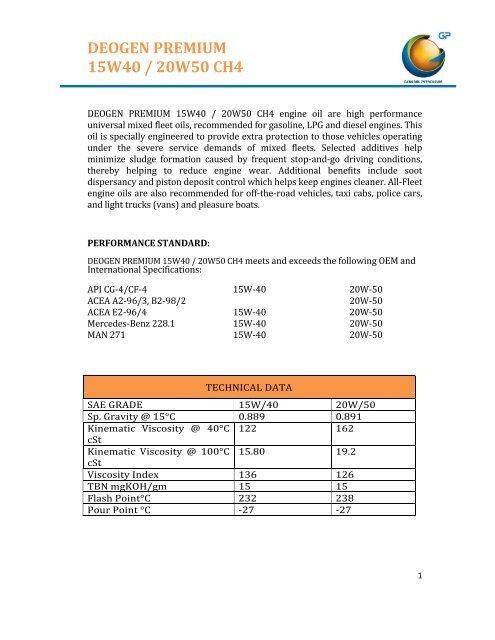 DEOGEN PREMIUM 15W40 / 20W50 CH4 - General Petroleum