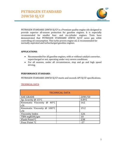 PETROGEN STANDARD 20W50 SJ/CF - General Petroleum