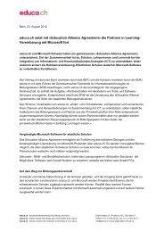 Medienmitteilung Education Alliance Agreement 2012 - SFIB - Educa
