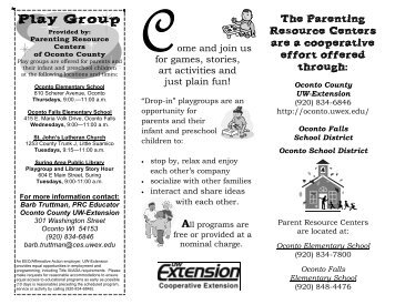 playgroup brochure revised March 2013 - Oconto County