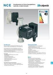 Umwälzpumpen mit hoher Energieeffizienz (stufenlos ... - Calpeda
