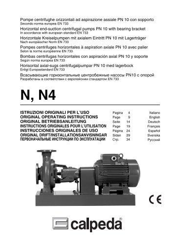 Pompe centrifughe orizzontali ad aspirazione assiale PN ... - Calpeda