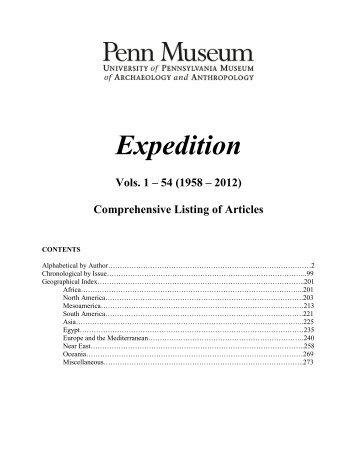 Expedition Index - University of Pennsylvania Museum of ...