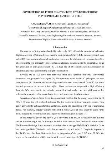 62 CONTRIBUTION OF TYPE II QUANTUM DOTS INTO DARK ...