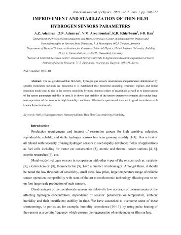 improvement and stabilization of thin-film hydrogen sensors ...