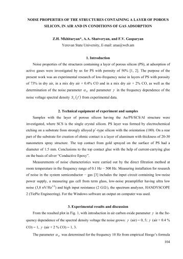 104 NOISE PROPERTIES OF THE STRUCTURES CONTAINING A ...