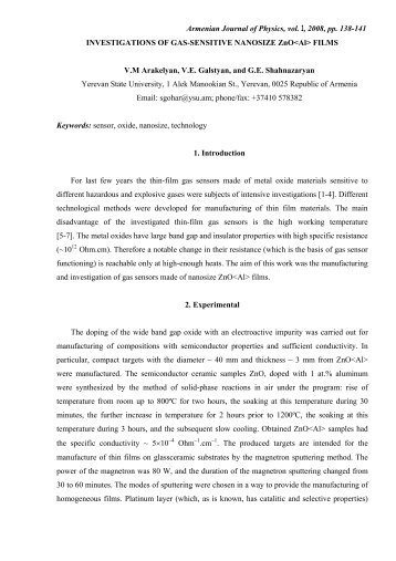 Armenian Journal of Physics, vol. 1, 2008, pp. 138-141 ...