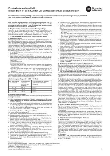 Produktinformationsblatt Dieses Blatt ist dem Kunden vor ... - Saturn