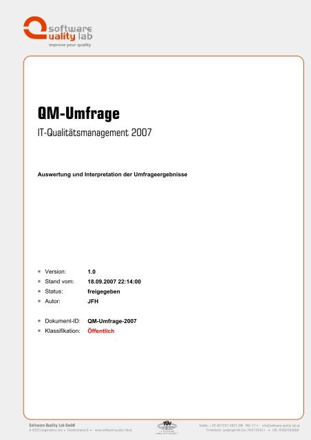 QM-Umfrage - Software Quality Lab