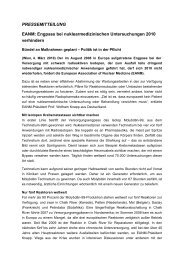 Engpass bei nuklearmedizinischen Untersuchungen 2010 verhindern