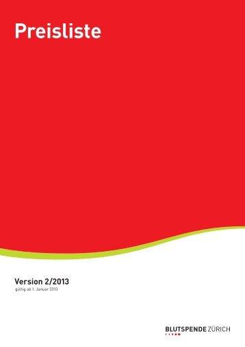 Preisliste 2/2013 - Blutspende Zürich