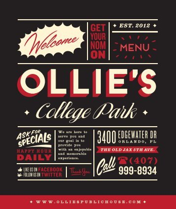 Download our Food Menu - Ollie's Public House