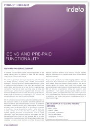 IBS v6 and Pre-Paid Functionality - Irdeto