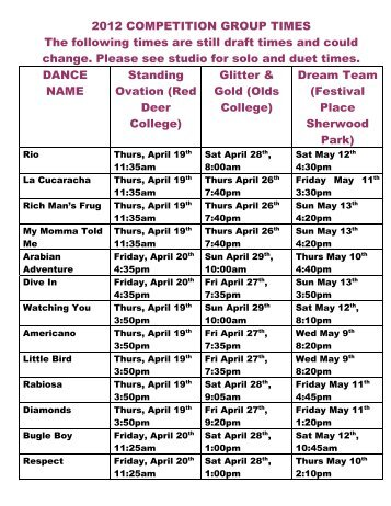 2012 COMPETITION GROUP TIMES - Dancer's Edge Studio