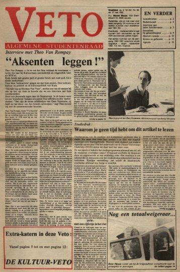 """""""Aksenten leggen !"""" - archief van Veto"""