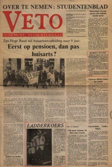 OVER TE NEMEN • • STUDENTENBLAD - archief van Veto