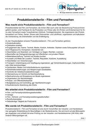 Produktionsleiter/in - Film und Fernsehen - UKF.tv