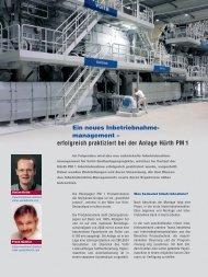 erfolgreich praktiziert bei der Anlage Hürth PM 1 - Voith