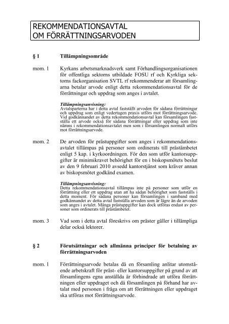 rekommendationsavtal om förrättningsarvoden - Sakasti