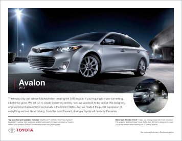 2013 Avalon condensed brochure